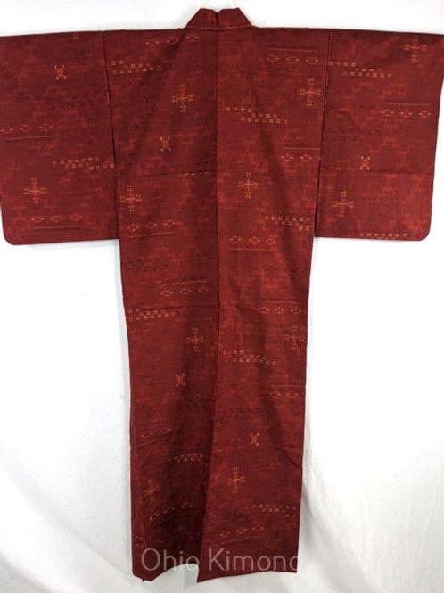 vintage red japanese kimono