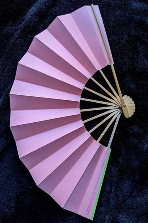 pink and green folding fan from japan