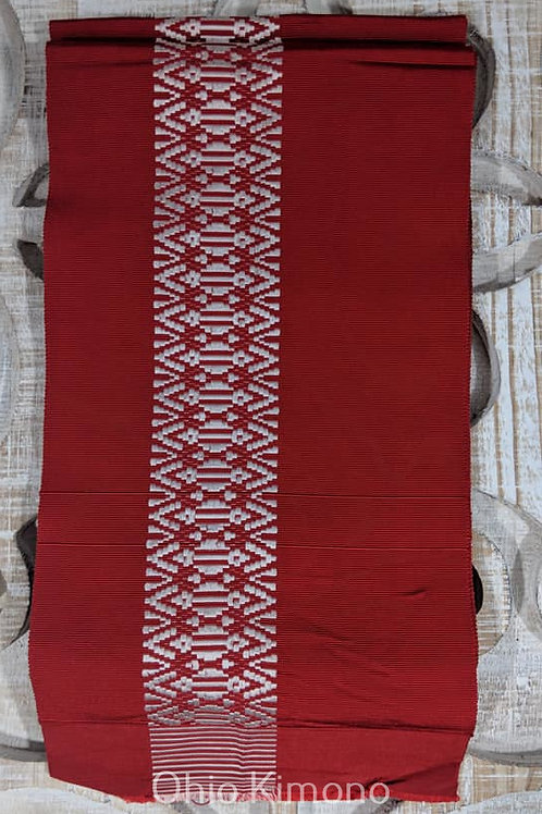 Red & White Hanhaba Obi