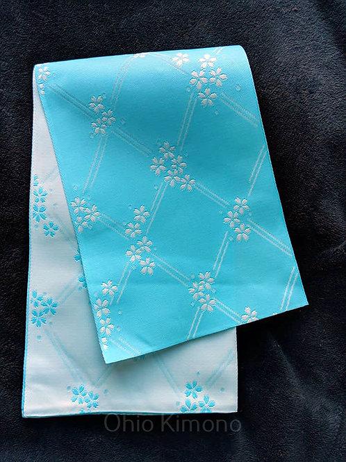 White & Aqua Blue Hanhaba Obi