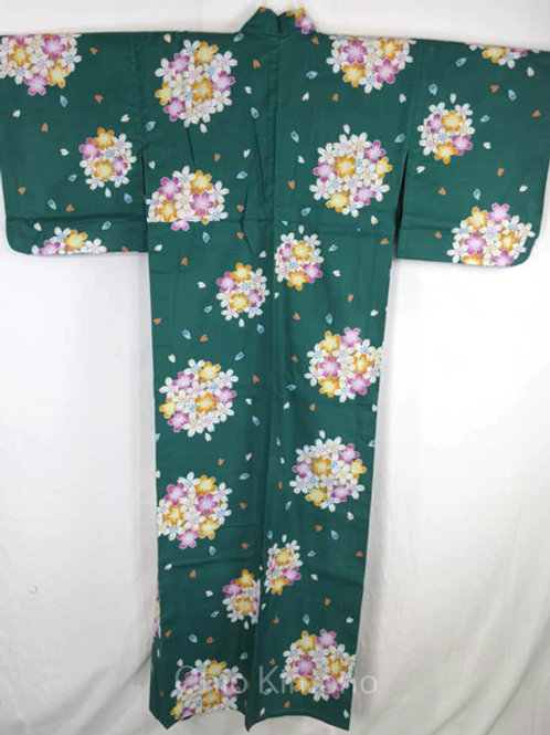 yukata green flowers