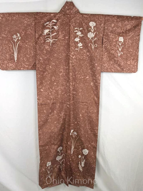 brown tsukesage semi-formal womens kimono