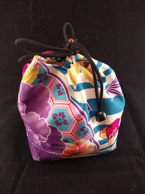 Kinchaku - Floral Kimono Draw String Bag