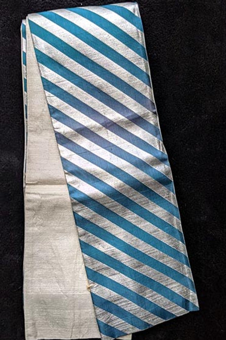 silver and teal obi from japan