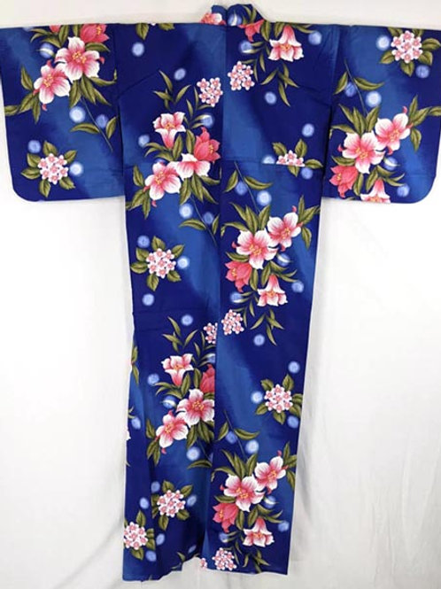 blue and pink yukata from japan