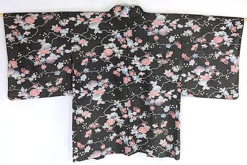 black vintage flower haori