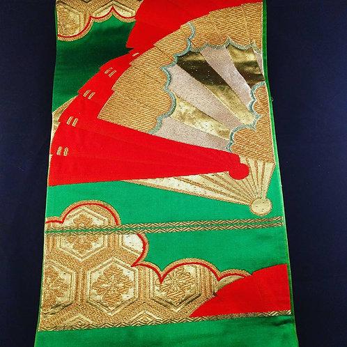 Vintage Green Silk Fukuro Obi w/Fans