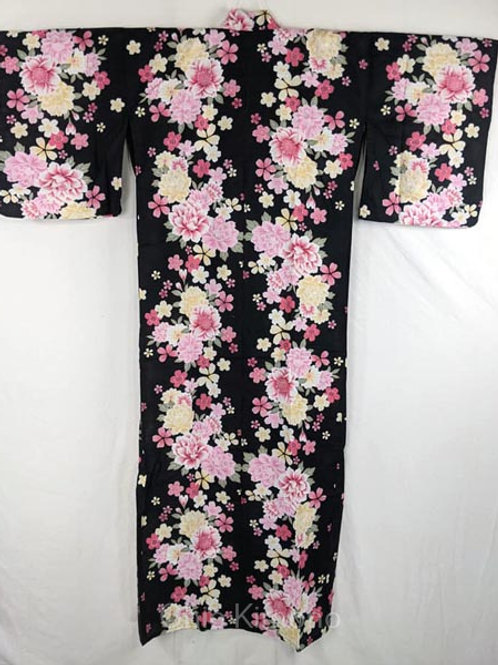 yukata black with sakura flowers