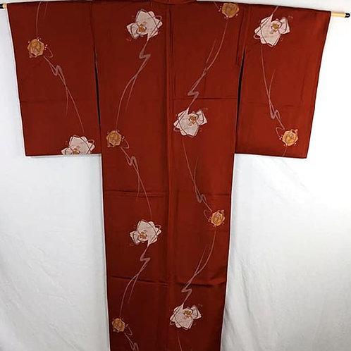 red meisen kimono from japan