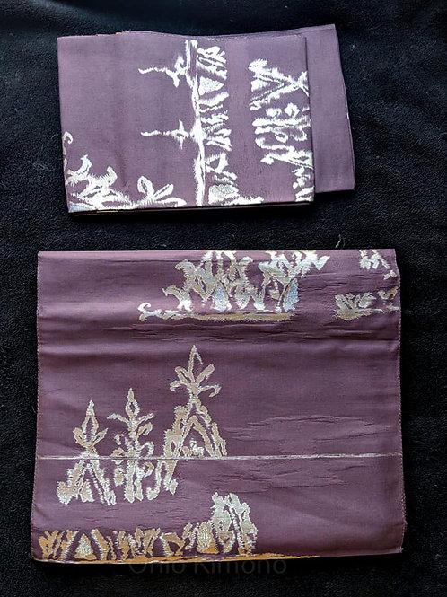 Plum Purple & Beige Tsuke Obi