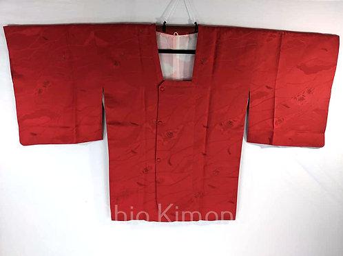 red silk kimono coat