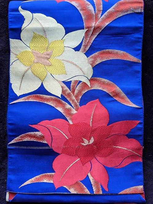 blue floral nagoya obi