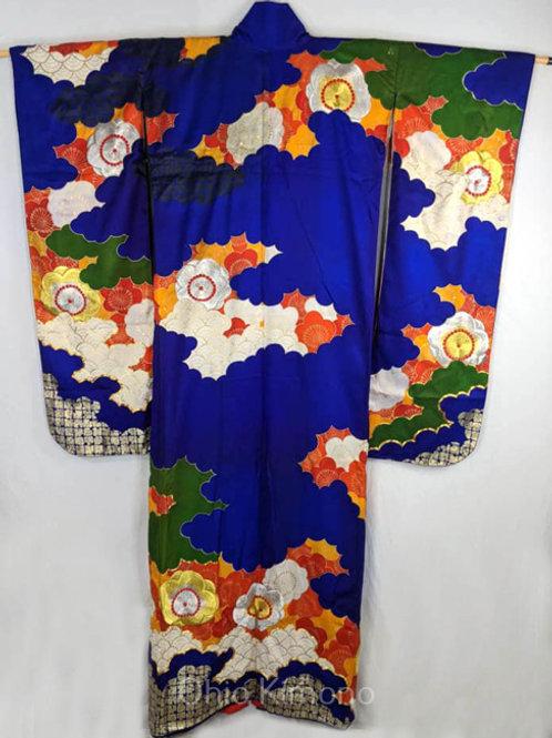 royal blue furisode kimono with plum blossoms
