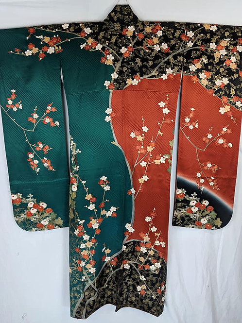 Burnt Orange & Ocean Teal Furisode