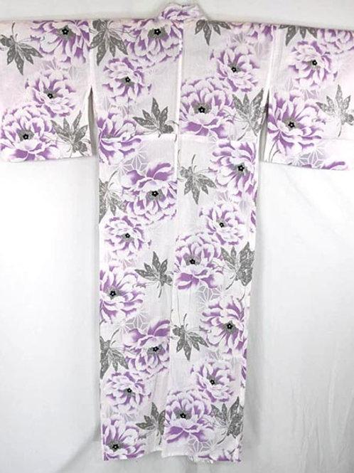 white and purple flower yukata