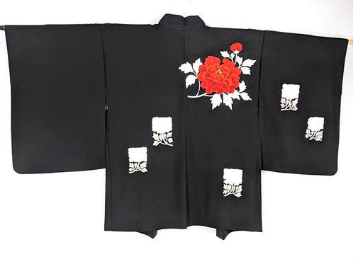 haori coat for kimono in black