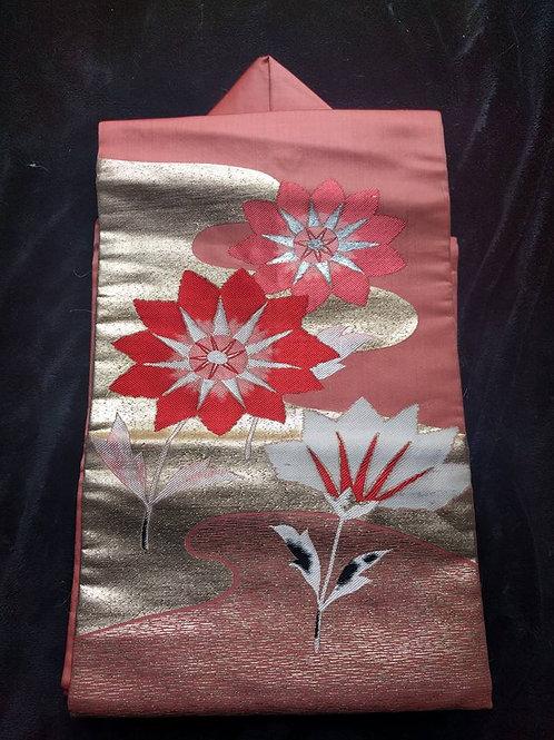 Floral Japanese Nagoya Obi For Sale