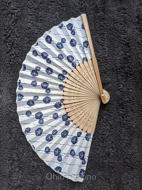 White & Navy Blue Folding Fan