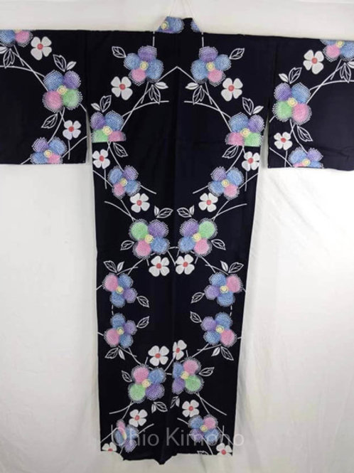 yukata blue with flowers