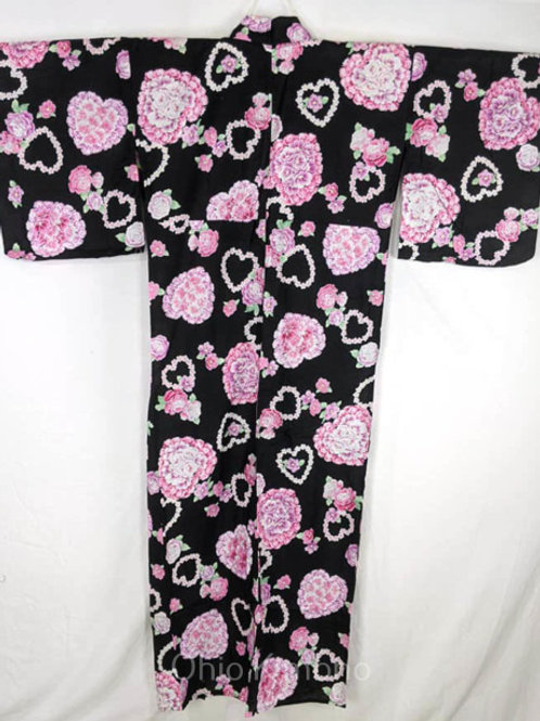 black pink yukata hearts flowers