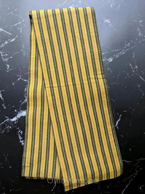 vintage yellow and black hanhaba obi