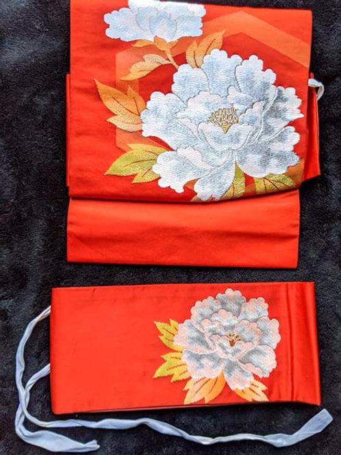 Bold Orange & White Tsuke Obi