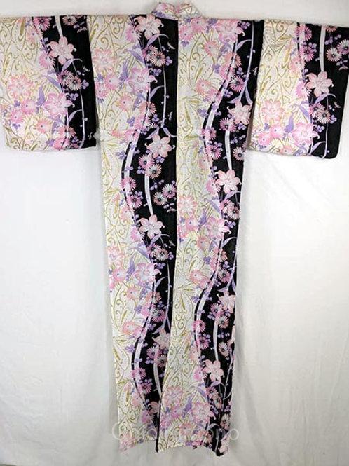 yukata pink and black