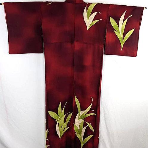 red tsukesage kimono from japan