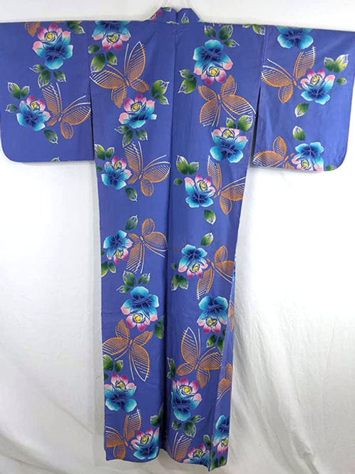 royal blue yukata with butterflies