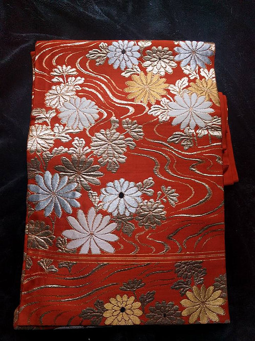 Orange Nagoya Obi For Japanese Kimono