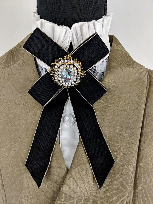 Black Kimono Brooch Bowtie