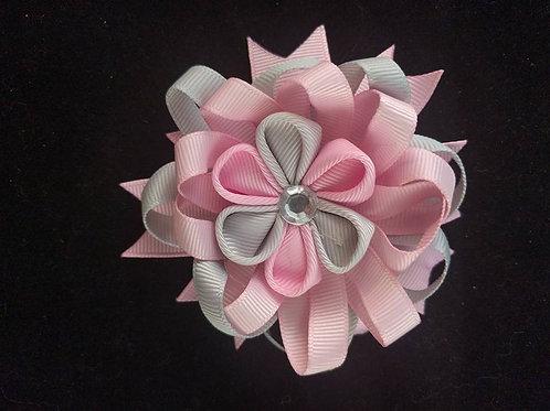 Pink & Gray Ribbon Kanzashi