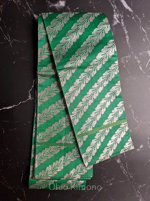green and silver obi for kimono