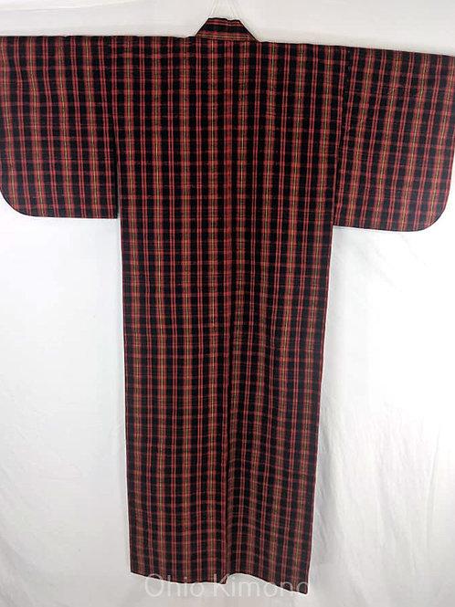 Dark Blue & Red Japanese Kimono