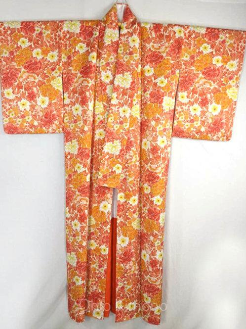 women's japanese kimono flowers in autumn colors