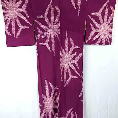fuschia shibori kimono from japan