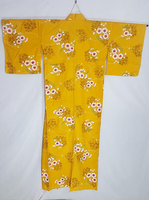 yellow women's cotton yukata