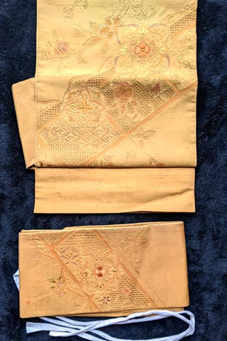 Rustic Marigold Yellow & Soft Green Tsuke Obi
