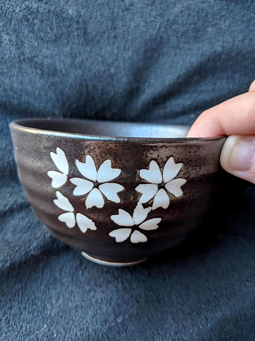 Dark Brown & White Tea Bowl