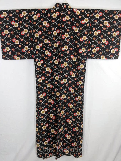 black japanese kimono plum blossom flowers