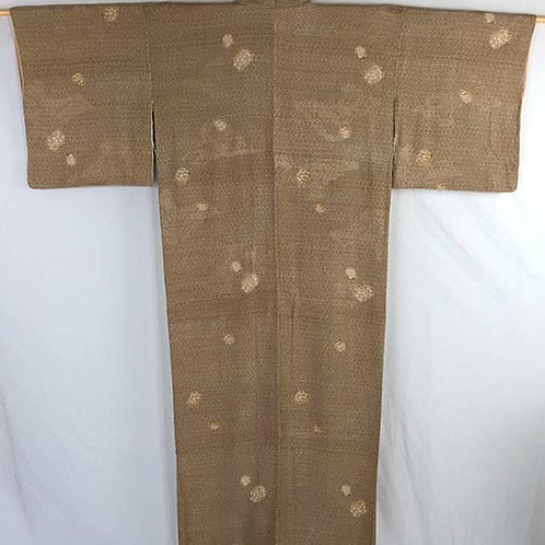 brown japanese kimono with flowers