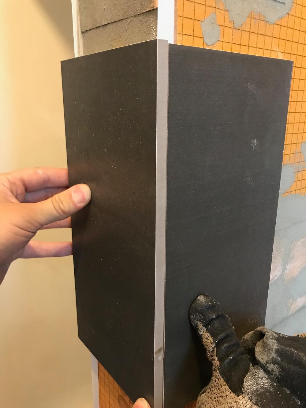 tile edge dry set without trim not uniform colour