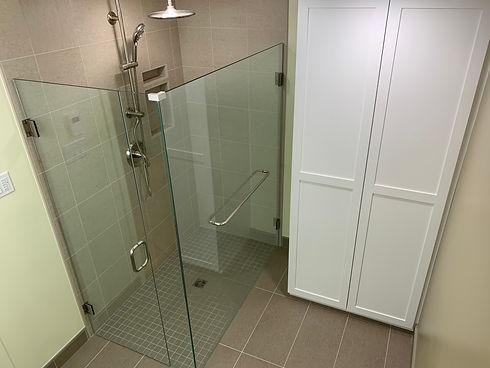 Custom Shower Glass Enclosure door walk-in tile shower near Brandon MB