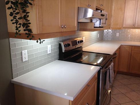 Kitchen tile backsplash Alexander MB glass tile brick pattern