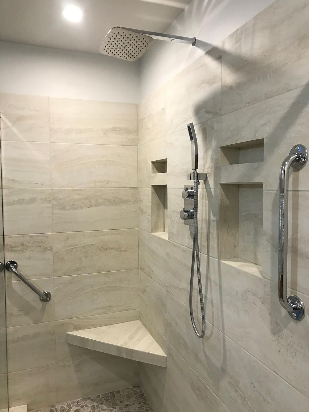 Tile installation mitred edges shower