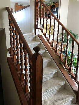 Stair handrail before picture Brandon MB interior finishing