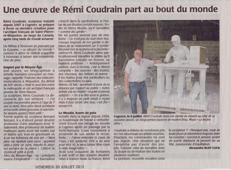 Une oeuvre de Rémi Coudrain part au bout du monde