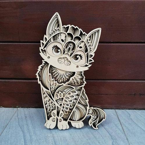 3D Mandala Cat