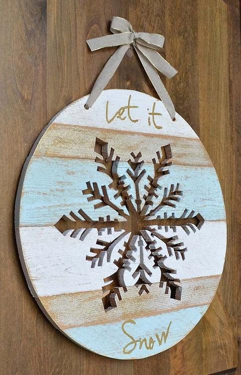 Wooden Let It Snow Snowflake Door Hanger