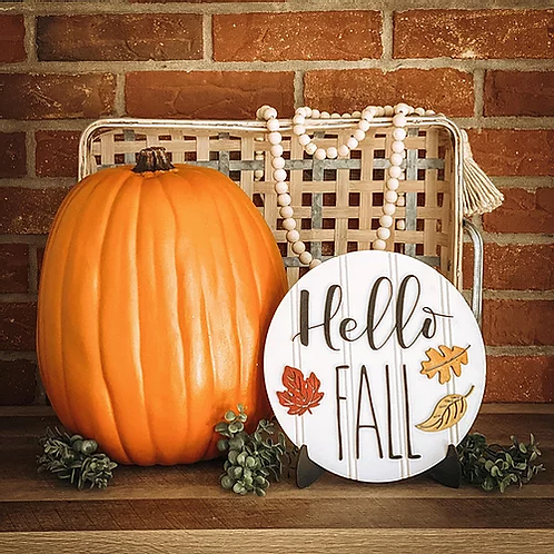 Hello Fall Circle Shelf Sitter with Easel